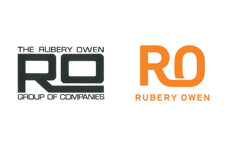 Rubery Owen logo, before and after