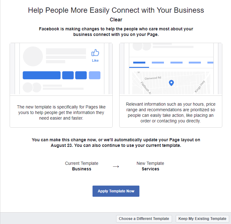 New facebook business page templates clear design shrewsbury you may too have been tempted to bite the bullet and click apply template now however we felt we needed to check out how exactly this change of flashek Image collections