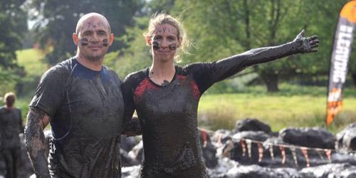 Gavin and Sherridan covered in mud