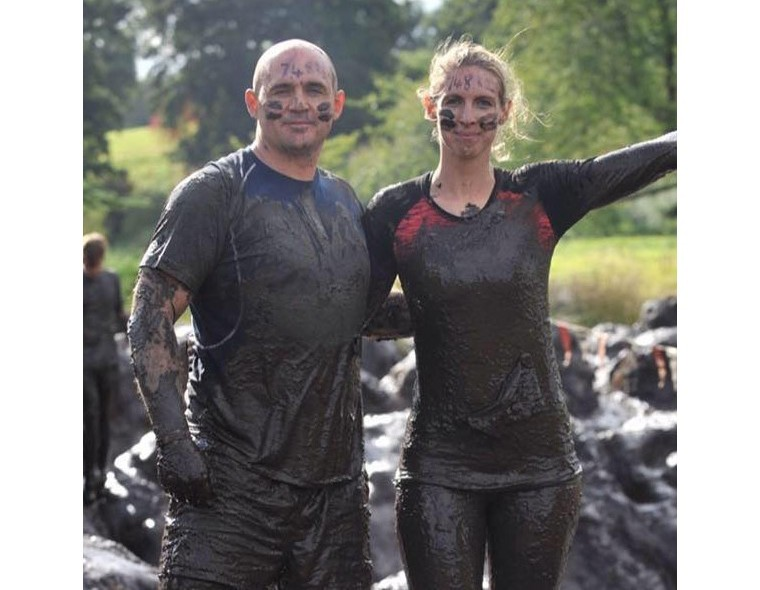 Gavin and Sherridan covered in mud